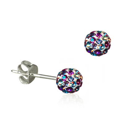 Rainbow Crystal Ball Earrings