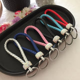 Leather and Diamante Keyring