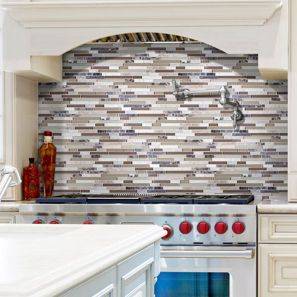 Bliss Stone and Glass Linear Mosaic Tiles