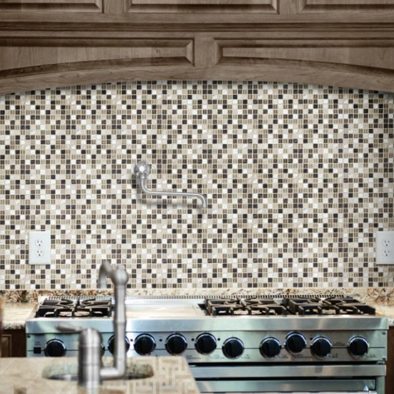 Bliss Stone and Glass Square Mosaic Tiles
