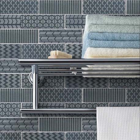 Quilted 2x6 Acid Etched Glass Mosaic Tiles