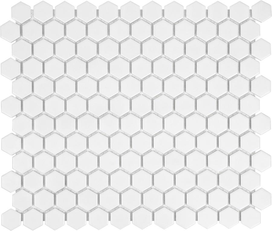 Glazed Porcelain Hexagon Mosaic Tiles - 1 Inch White Tiles - 8.15 Sq Ft Box - Rocky Point Tile - Glass and Mosaic Tile Store