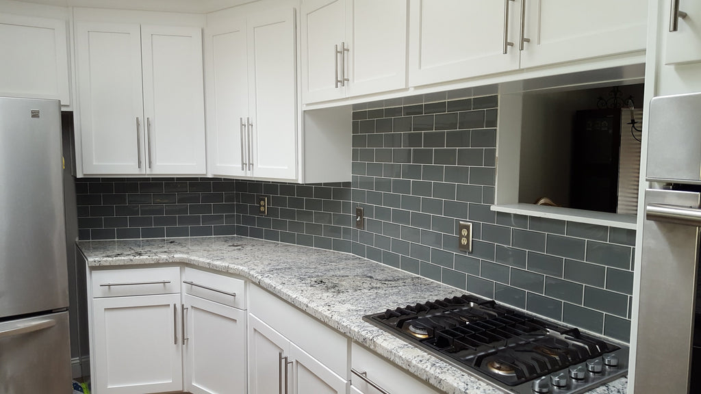 Pebble Grey 3x6 Glass Subway Tiles