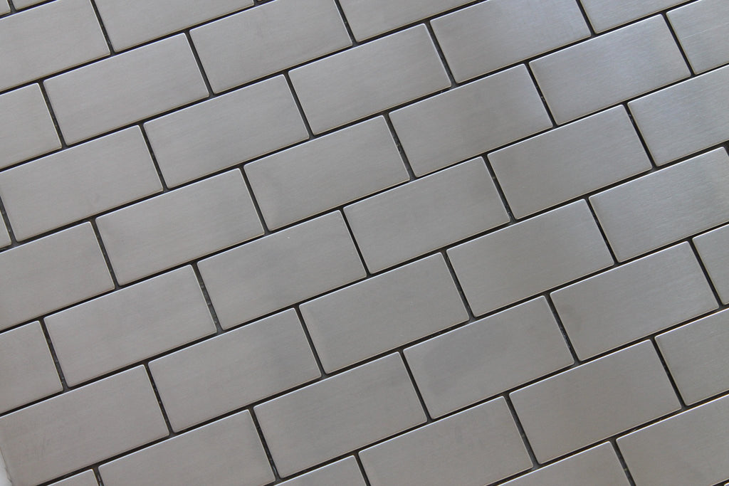 Stainless Steel 2x4 Brick Mosaic Tiles - Rocky Point Tile - Glass and Mosaic Tile Store