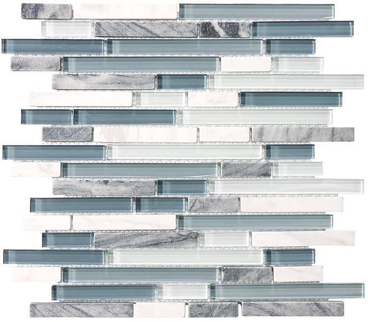 Bliss BSWS Stone and Glass Linear Mosaic Tiles - Rocky Point Tile - Glass and Mosaic Tile Store