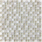 Bliss Creme Brulee Stone and Glass Square Mosaic Tiles - Rocky Point Tile - Glass and Mosaic Tile Store