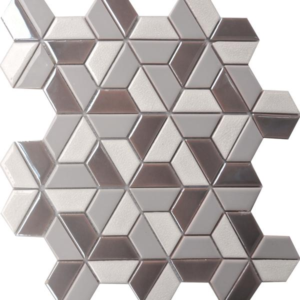 Glaze Craze Hexagon Porcelain Mosaic Tiles -  Lotus Pearl