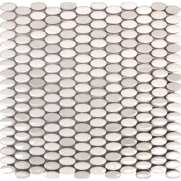 Glaze Craze Oval Porcelain Mosaic Tiles - Bone White