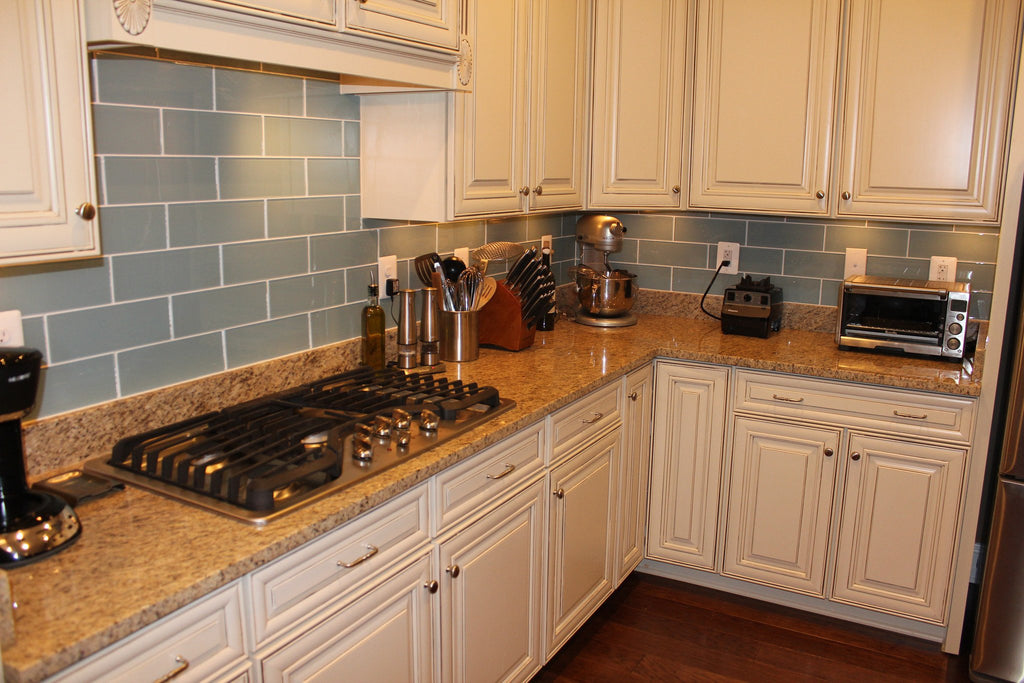 Jasper Blue Gray 4x12 Glass Subway Tiles - Rocky Point Tile - Glass and Mosaic Tile Store