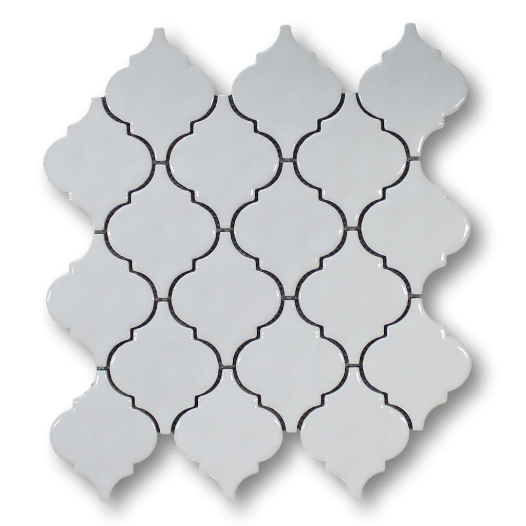 Arabesque Ceramic Mosaic Tiles - White