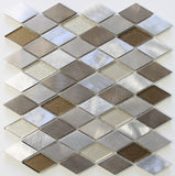 Yaletown Diamond Brushed Aluminum and Glass Mosaic Tiles - Rocky Point Tile - Glass and Mosaic Tile Store