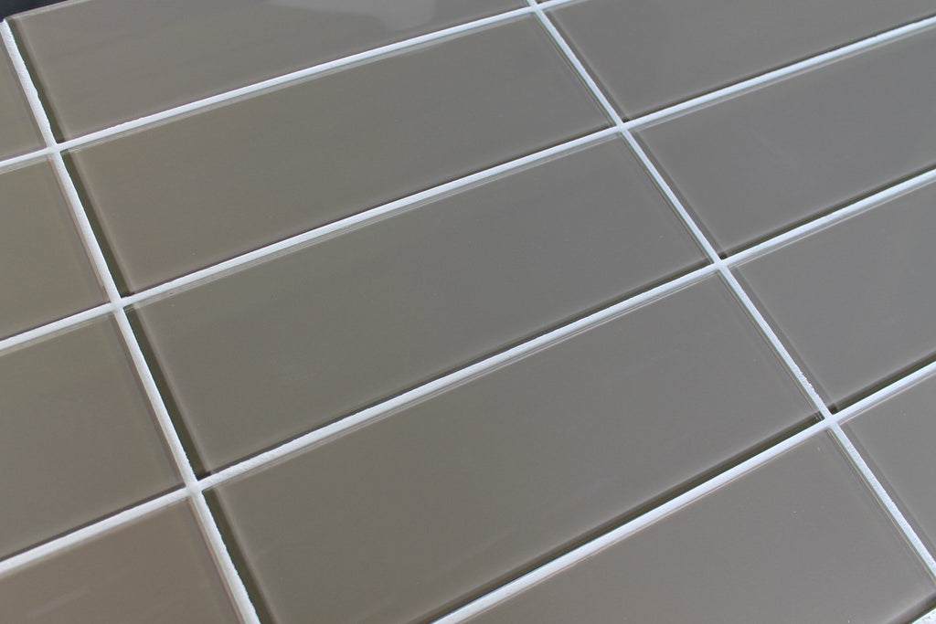 Manhattan Taupe Brown 4x12 Glass Subway Tiles - Rocky Point Tile - Glass and Mosaic Tile Store