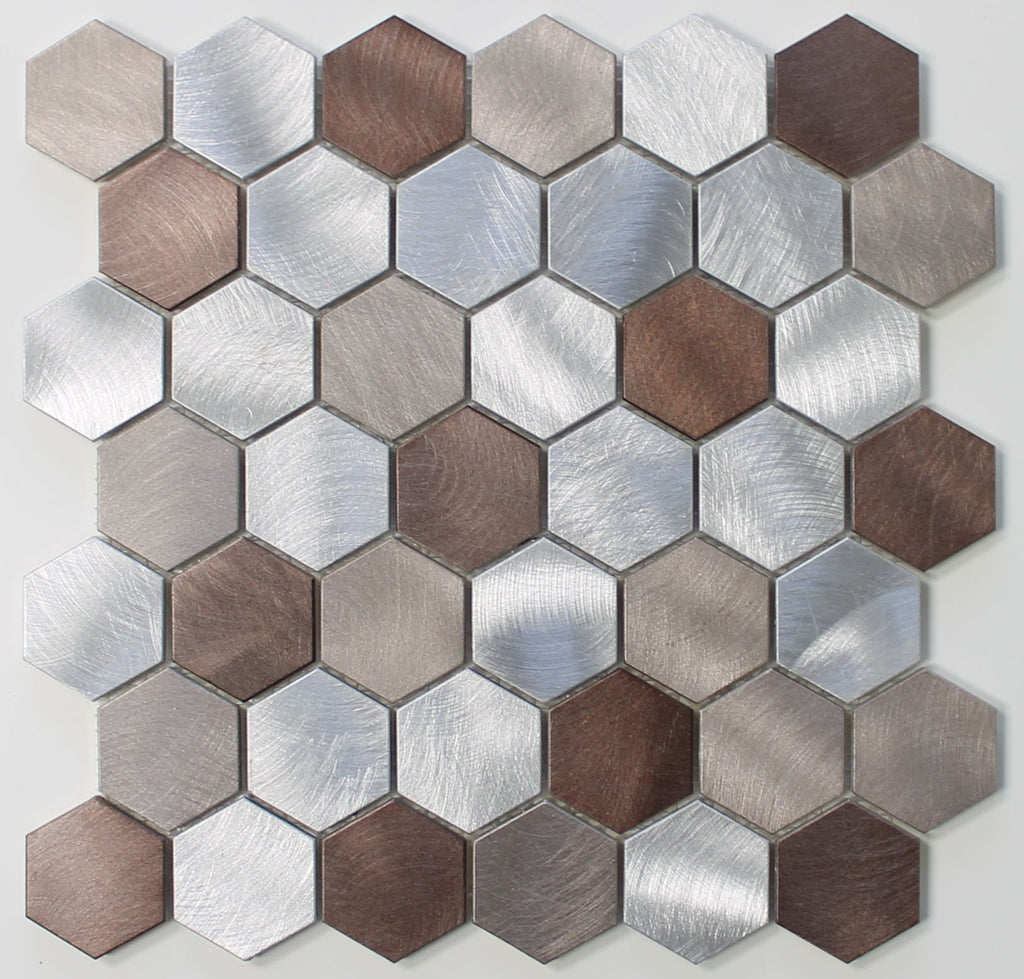 Casablanca Brushed Aluminum 2 Inch Hexagon Mosaic Tiles - Rocky Point Tile - Glass and Mosaic Tile Store