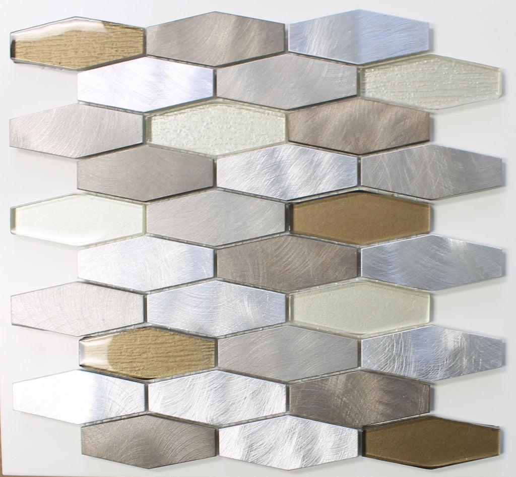 Yaletown Long Hexagon Brushed Aluminium and Glass Mosaic Tiles - Rocky Point Tile - Glass and Mosaic Tile Store