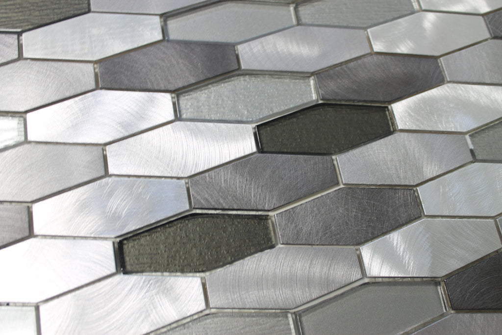 Kings Cross Long Hexagon Brushed Aluminum and Glass Mosaic Tiles - Rocky Point Tile - Glass and Mosaic Tile Store