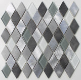Metro Diamond Brushed Aluminum and Glass Mosaic Tiles - Rocky Point Tile - Glass and Mosaic Tile Store