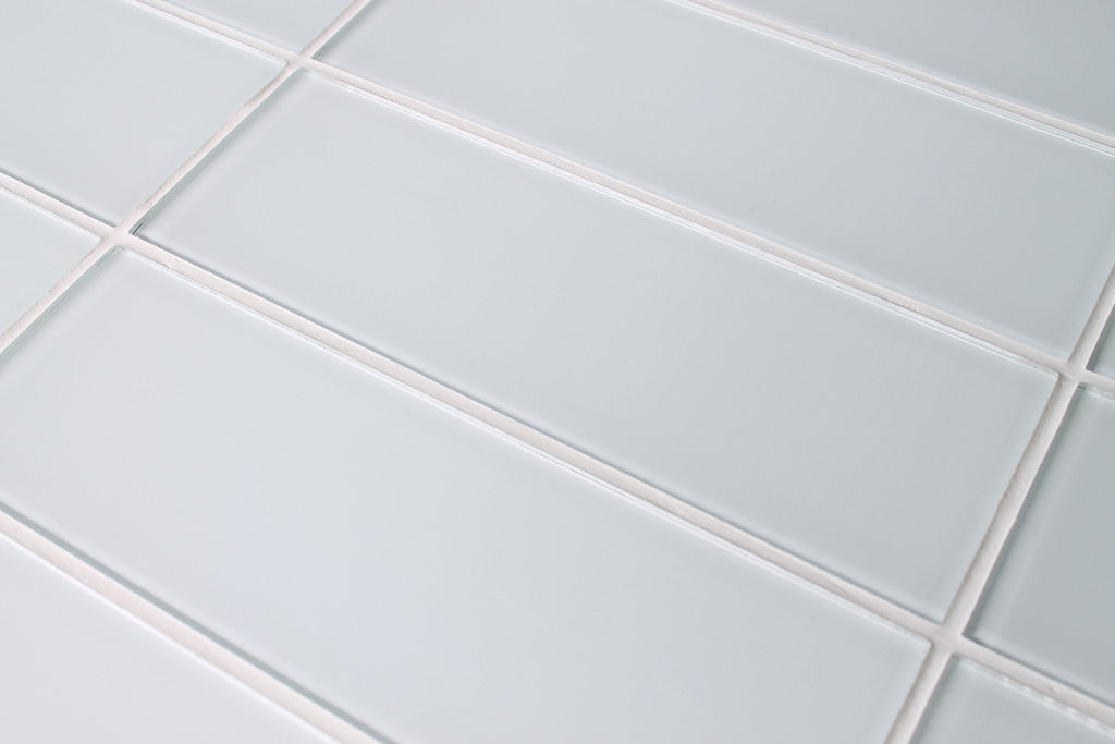 Snow White 4x12 Glass Subway Tiles - Rocky Point Tile - Glass and Mosaic Tile Store