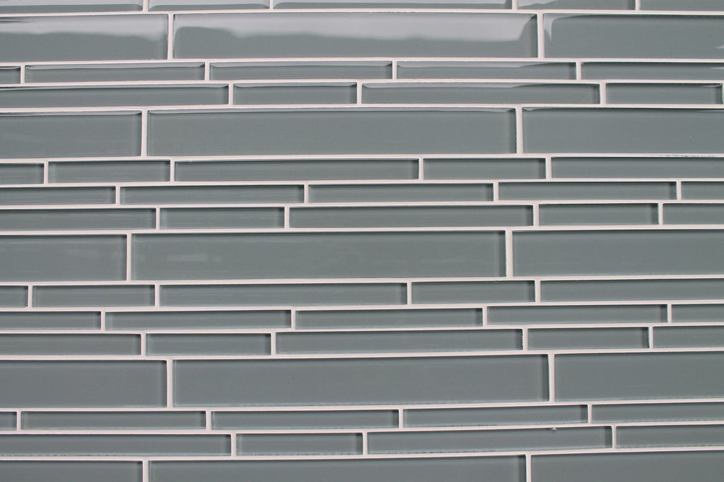 Chimney Smoke Gray Linear Glass Mosaic Tile - Rocky Point Tile - Glass and Mosaic Tile Store
