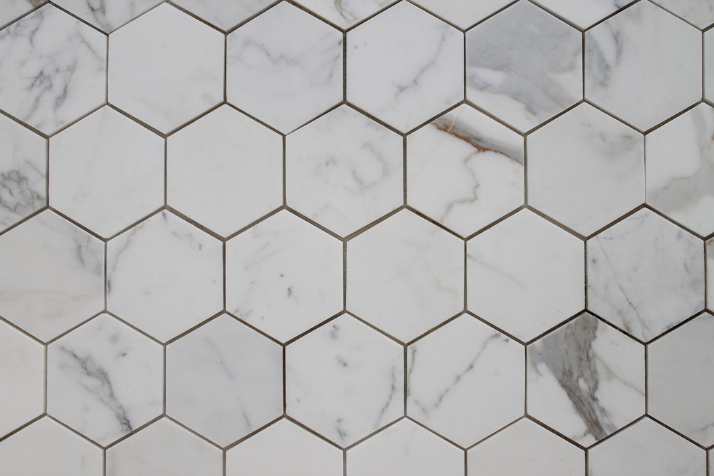 "4"" Hexagon Calacatta Gold Polished Marble Mosaic Tiles - Rocky Point Tile - Glass and Mosaic Tile Store"