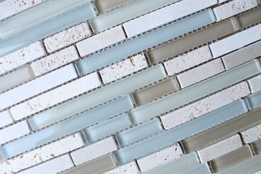 Bliss Spa Stone and Glass Linear Mosaic Tiles - Rocky Point Tile - Glass and Mosaic Tile Store