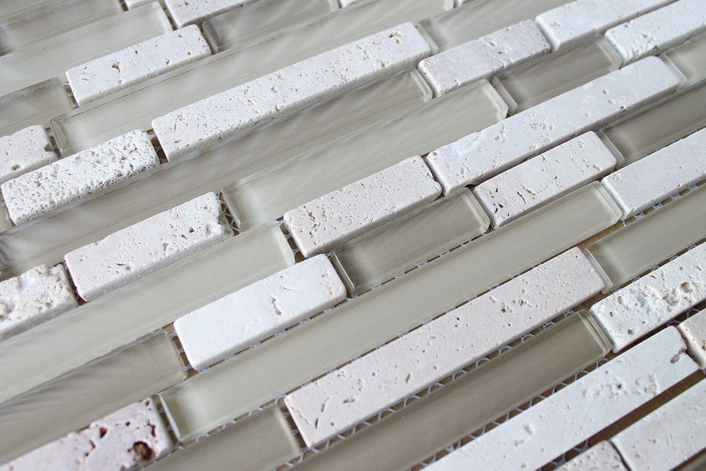 Bliss Creme Brulee Stone and Glass Linear Mosaic Tiles - Rocky Point Tile - Glass and Mosaic Tile Store