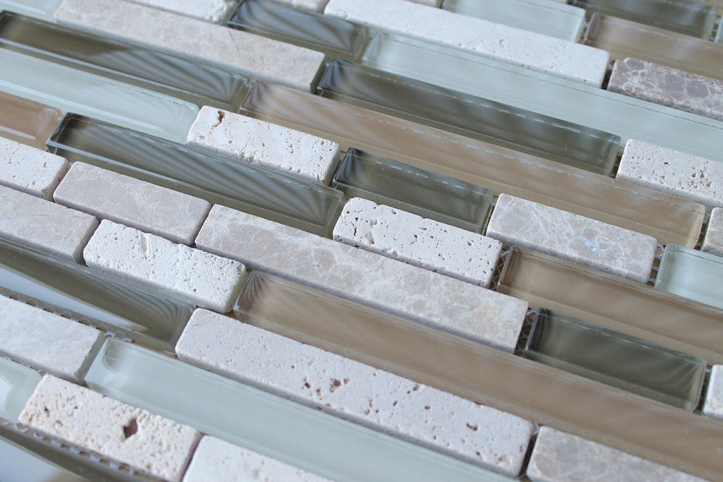 Bliss Bamboo Stone and Glass Linear Mosaic Tiles - Rocky Point Tile - Glass and Mosaic Tile Store