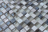 Bliss Cappucino Stone and Glass Square Mosaic Tiles - Rocky Point Tile - Glass and Mosaic Tile Store
