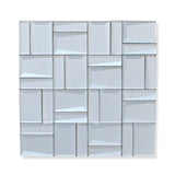 Illusion II 3D 3x3 Beveled Glass Mosaic Tiles - Iridium
