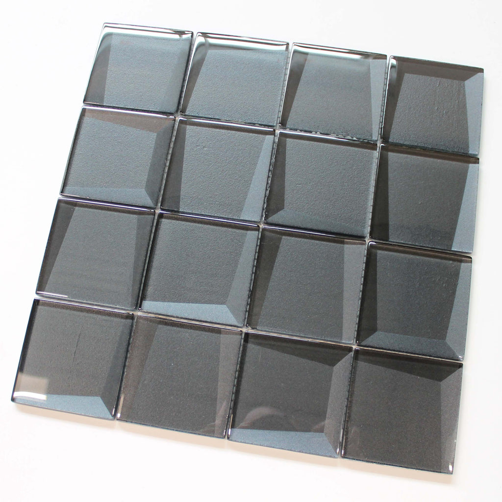 Illusion 3D 3x3 Beveled Glass Mosaic Tiles - Gun Metal
