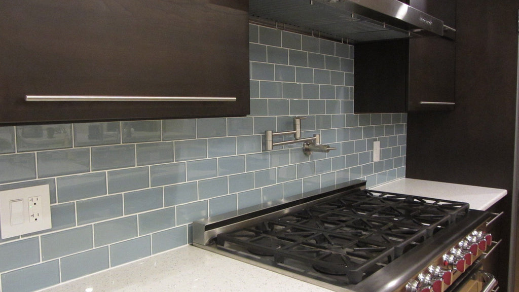 Jasper Blue Gray 3x6 Glass Subway Tiles - Rocky Point Tile - Glass and Mosaic Tile Store