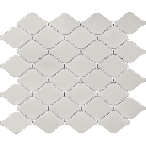 Mosaico Soho Warm Grey Gloss Arabesque Mosaic Tiles