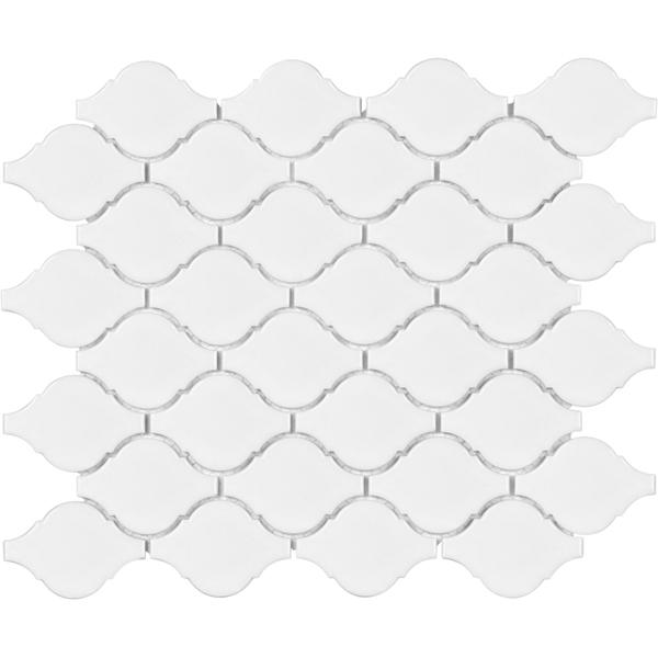 Mosaico Soho White Gloss Porcelain Arabesque Mosaic Tiles