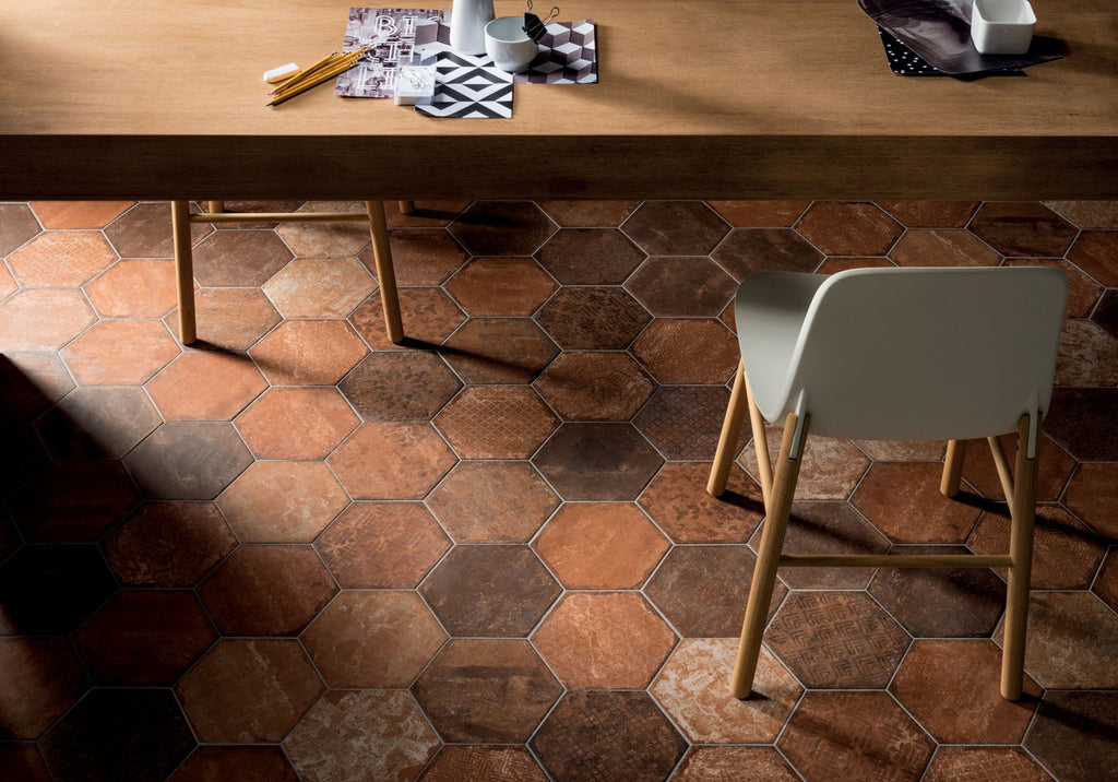 Red Patterned Hexagon - Bricklane Series Glazed Porcelain Tiles
