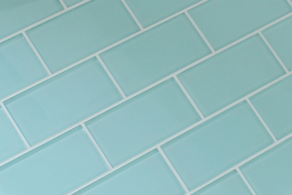 Seafoam 3x6 Glass Subway Tiles - Rocky Point Tile - Glass and Mosaic Tile Store