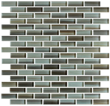 Utaupia Taupe Hand Painted Glass Mosaic Subway Tiles