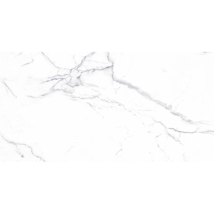 "Verona 24"" x 48"" Glazed Porcelain Tiles - Polished Carrara White"