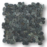 Island Pebble Stone Mosaic Tiles - Level Black