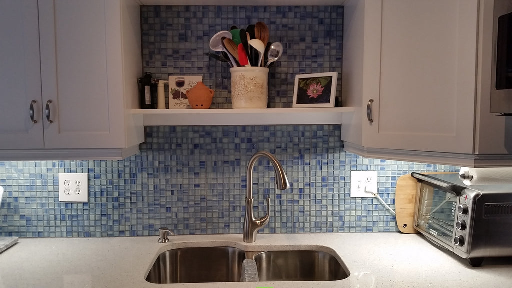 Blue Skies Hand Painted 1x1 Glass Mosaic Tiles - Blue and White - Rocky Point Tile - Glass and Mosaic Tile Store