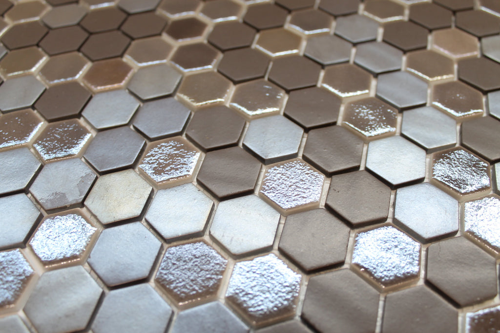 1 Inch Brown Hexagon Mosaic Tiles - Rocky Point Tile - Glass and Mosaic Tile Store