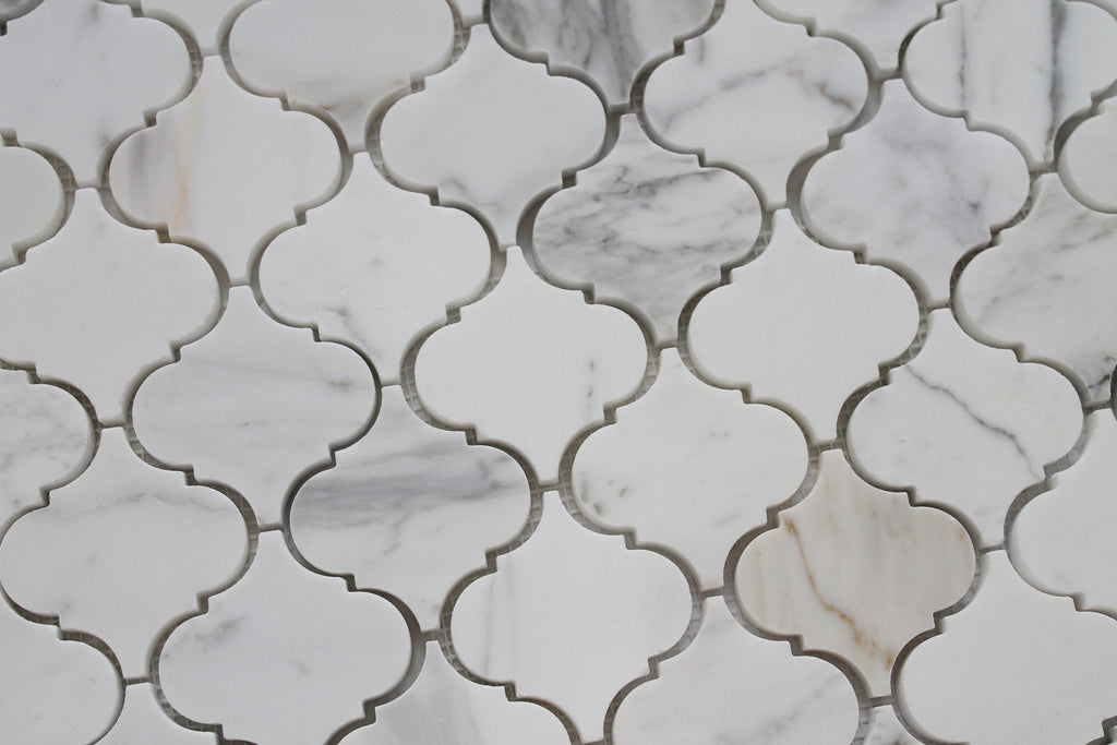 Small Arabesque Calacatta Gold Polished Marble Mosaic Tiles - Rocky Point Tile - Glass and Mosaic Tile Store