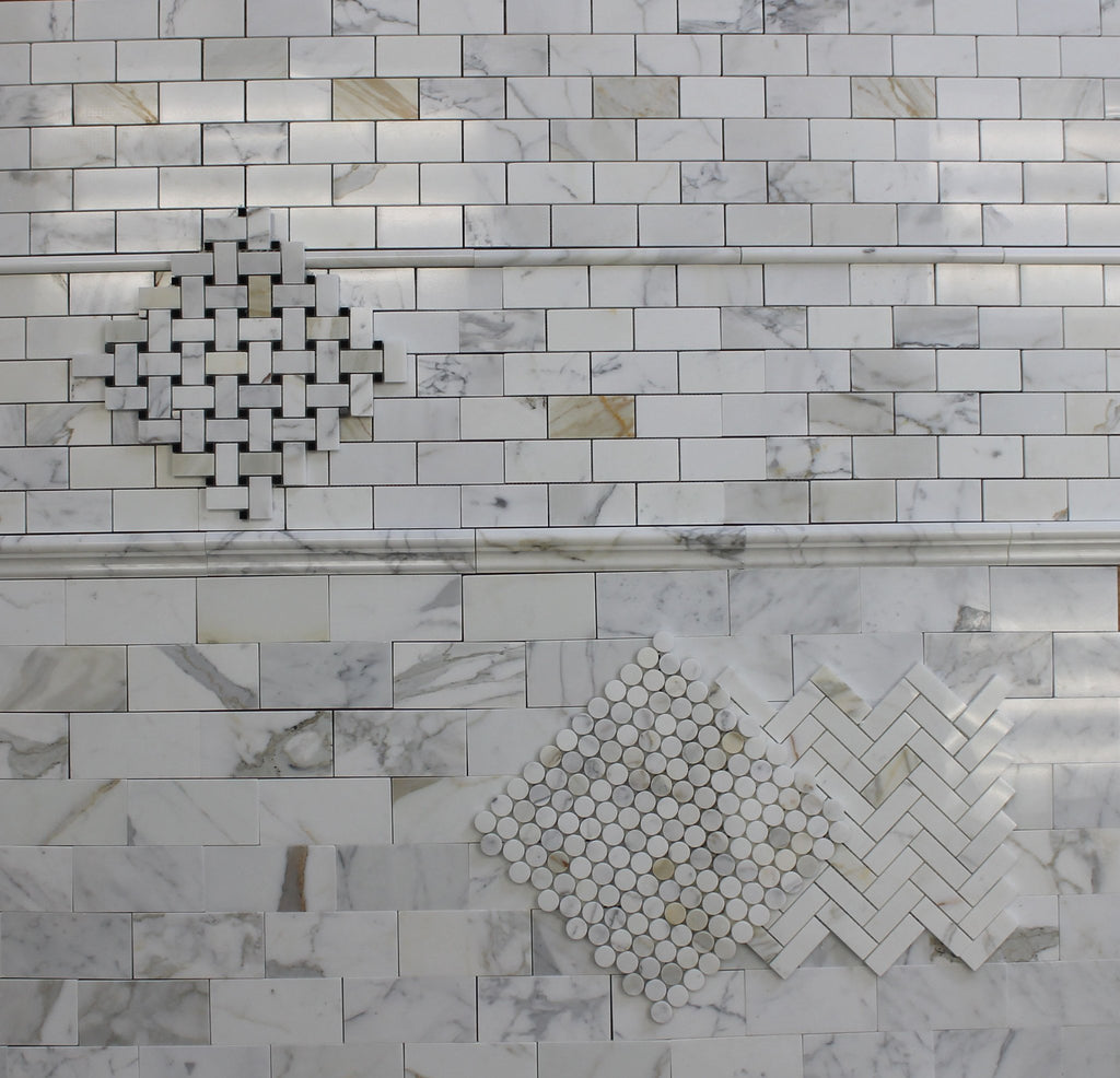 "2"" x 4"" Calacatta Gold Polished Marble Subway Mosaic Tiles - Rocky Point Tile - Glass and Mosaic Tile Store"