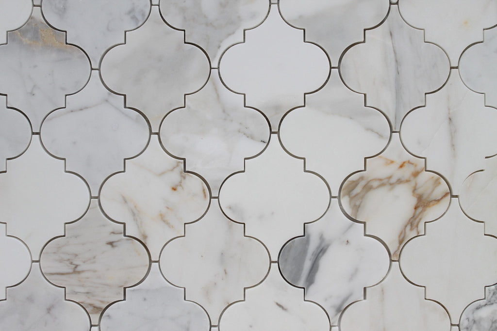 Calacatta Gold Polished Arabesque Marble Mosaic Tiles - Rocky Point Tile - Glass and Mosaic Tile Store