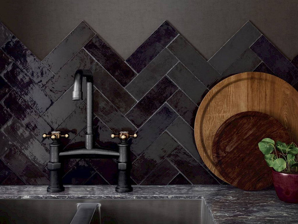"La Riviera 2.5"" x 8"" Glossy Ceramic Subway Tiles - Tourmaline"
