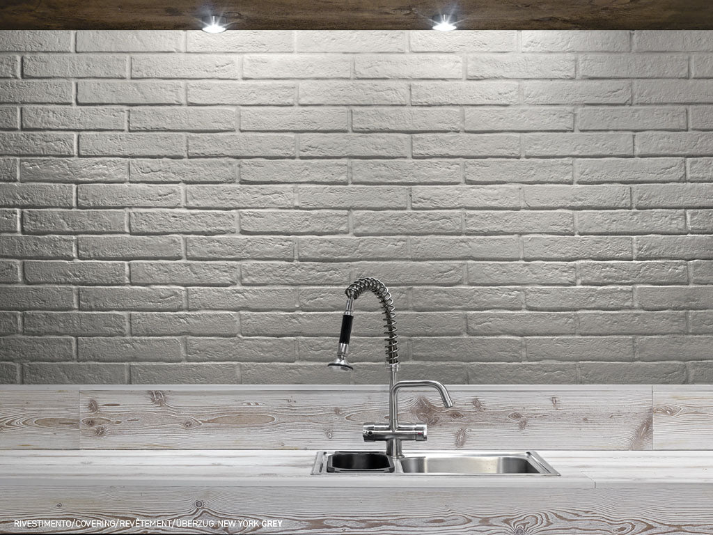 "New York Brick 2.5"" x 10"" Porcelain Subway Tiles - Grey"
