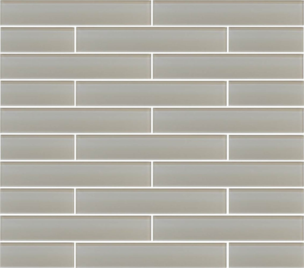 Country Cottage Light Taupe 2x12 Glass Subway Tiles - Rocky Point Tile - Glass and Mosaic Tile Store