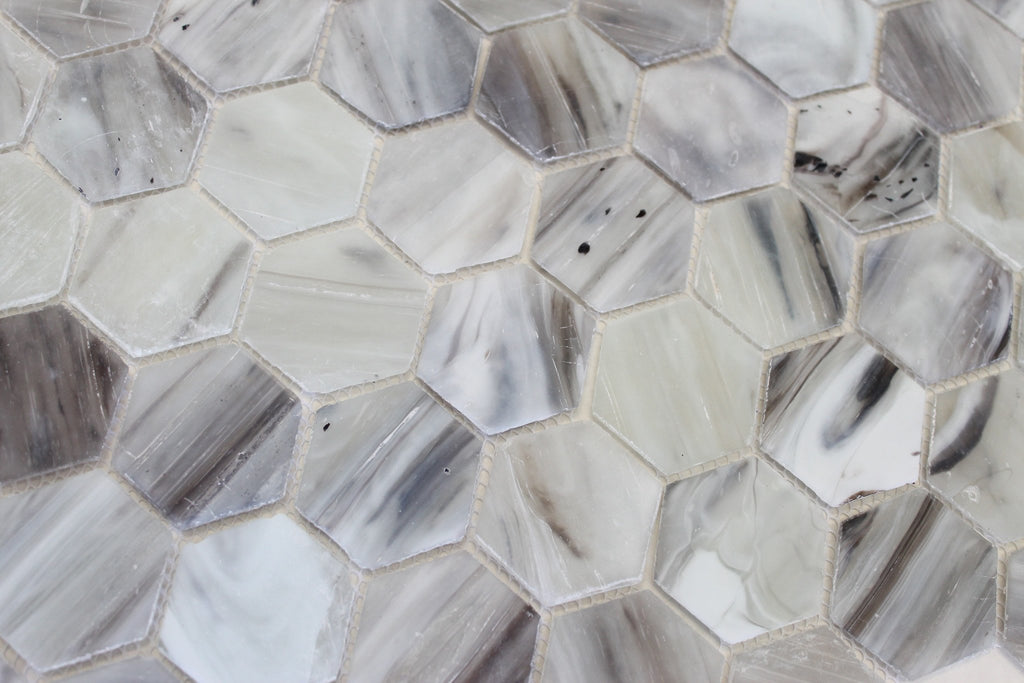 Driftwood Recycled Hexagon Glass Mosaic Tile - Rocky Point Tile - Glass and Mosaic Tile Store