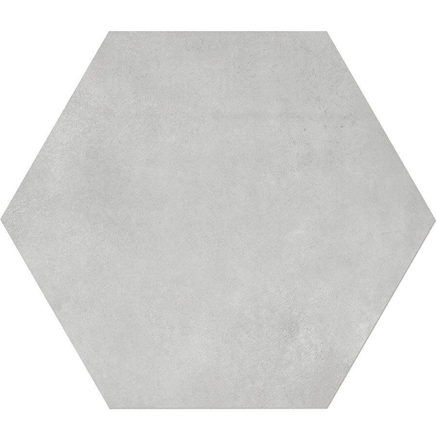 "Form 7"" x 8"" Hexagon Cement Look Glazed Porcelain Tiles - Ice"