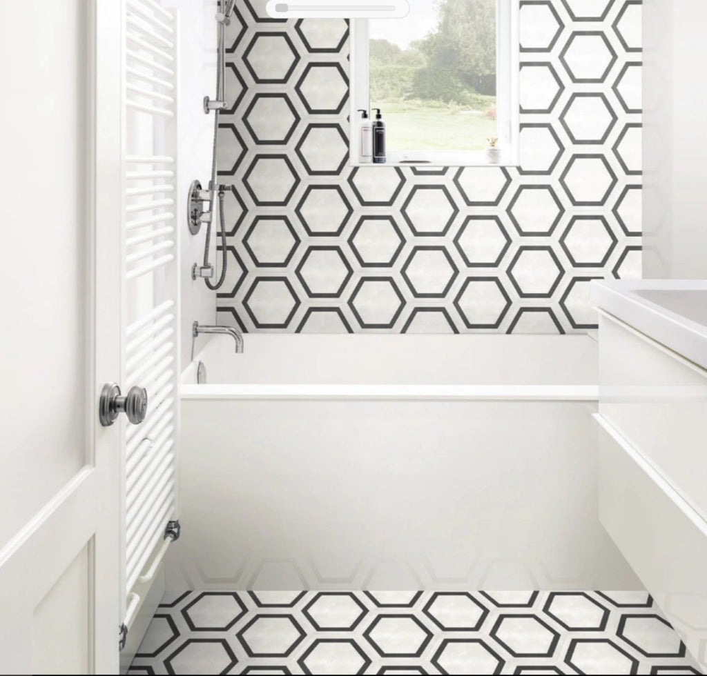"Form 7"" x 8"" Hexagon Cement Look Glazed Porcelain Tiles - Framed Ivory"