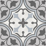 "Form 8"" x 8"" Cement Look Glazed Porcelain Tiles - Tide Deco Clover"
