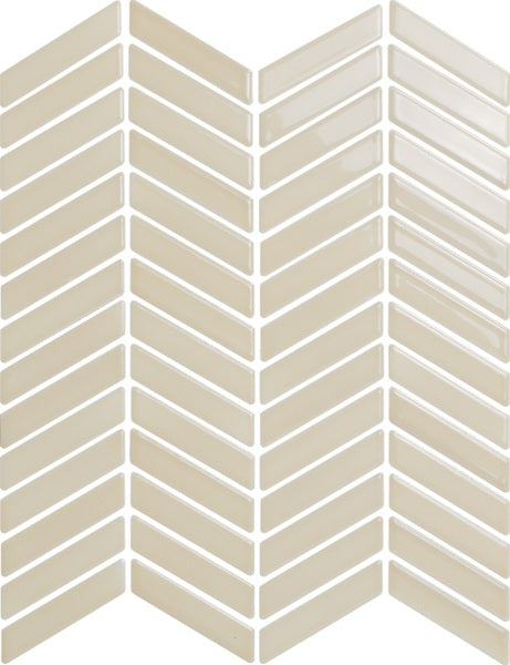 H-Line Chevron Glazed Ceramic Mosaic Tiles - Silk
